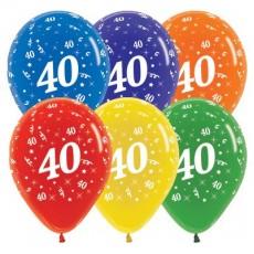 Teardrop Crystal Multi Coloured 40th Birthday Latex Balloons 30cm Pack of 25