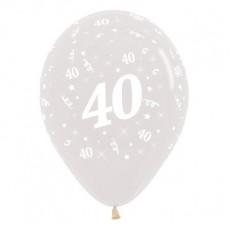 40th Birthday Crystal Clear  Latex Balloons