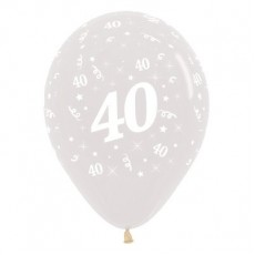 Teardrop Crystal Clear 40th Birthday Latex Balloons 30cm Pack of 25