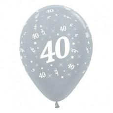 Teardrop Satin Pearl Silver 40th Birthday Latex Balloons 30cm Pack of 25