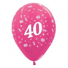 Teardrop Metallic Fuchsia 40th Birthday Latex Balloons 30cm Pack of 25