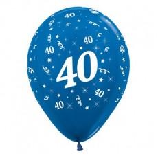 40th Birthday Metallic Blue  Latex Balloons
