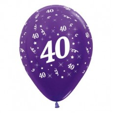 Teardrop Metallic Purple Violet 40th Birthday Latex Balloons 30cm Pack of 25