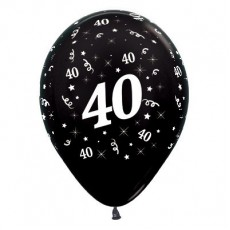 40th Birthday Metallic Black  Latex Balloons