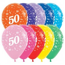 50th Birthday Fashion Multi Coloured  Latex Balloons