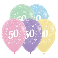 50th Birthday Pastel Multi Coloured  Latex Balloons