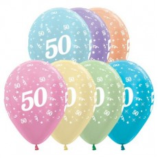 50th Birthday Pearl Satin Multi Coloured  Latex Balloons