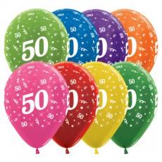 Teardrop Metallic Multi Coloured 50th Birthday Latex Balloons 30cm Pack of 25