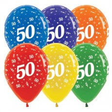 50th Birthday Crystal Multi Colour  Latex Balloons