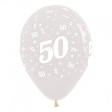 50th Birthday Crystal Clear  Latex Balloons