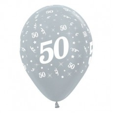 Teardrop Satin Pearl Silver 50th Birthday Latex Balloons 30cm Pack of 25