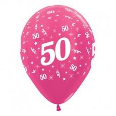 Teardrop Metallic Fuchsia 50th Birthday Latex Balloons 30cm Pack of 25