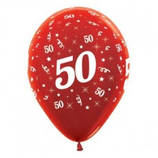 50th Birthday Metallic Red  Latex Balloons