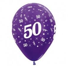 Teardrop Metallic Purple Violet 50th Birthday Latex Balloons 30cm Pack of 25
