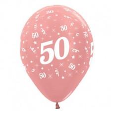 Teardrop Metallic Rose Gold 50th Birthday Latex Balloons 30cm Pack of 25