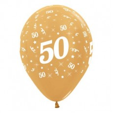 50th Birthday Metallic Gold  Latex Balloons