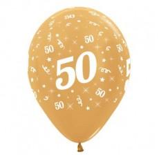 Teardrop Metallic Gold 50th Birthday Latex Balloons 30cm Pack of 25