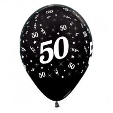 Teardrop Metallic Black 50th Birthday Latex Balloons 30cm Pack of 25