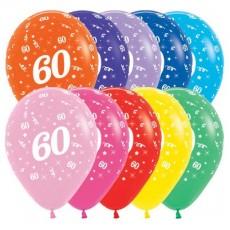Teardrop Fashion Multi Coloured 60th Birthday Latex Balloons 30cm Pack of 25