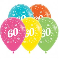 60th Birthday Tropical Multi Coloured  Latex Balloons