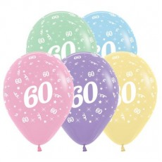 60th Birthday Pastel Multi Coloured  Latex Balloons