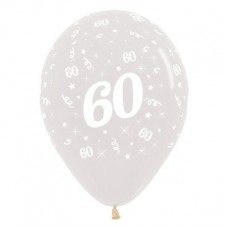 Teardrop Crystal Clear 60th Birthday Latex Balloons 30cm Pack of 25