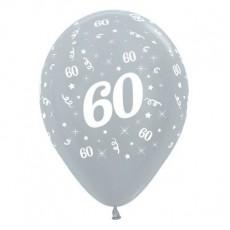 Teardrop Satin Pearl Silver 60th Birthday Latex Balloons 30cm Pack of 25