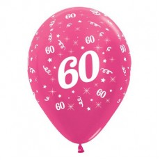 60th Birthday Metallic Pearl Fuchsia  Latex Balloons