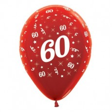 60th Birthday Metallic Pearl Red  Latex Balloons