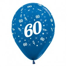 60th Birthday Metallic Blue  Latex Balloons