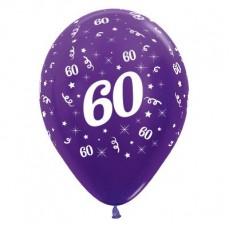 60th Birthday Metallic Purple Violet  Latex Balloons