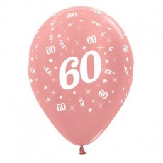 60th Birthday Metallic Pearl Rose Gold  Latex Balloons
