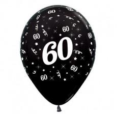 60th Birthday Metallic Black  Latex Balloons
