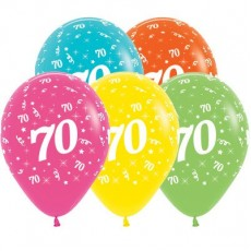 70th Birthday Tropical Multi Coloured  Latex Balloons