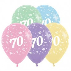 70th Birthday Pastel Multi Coloured  Latex Balloons