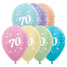 70th Birthday Satin Pearl Multi Coloured  Latex Balloons