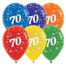 Teardrop Crystal Multi Coloured 70th Birthday Latex Balloons 30cm Pack of 25