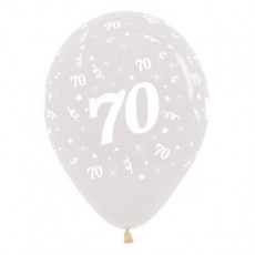 Teardrop Crystal Clear 70th Birthday Latex Balloons 30cm Pack of 25