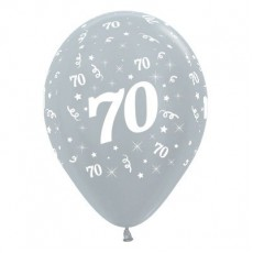 70th Birthday Metallic Pearl Silver  Latex Balloons