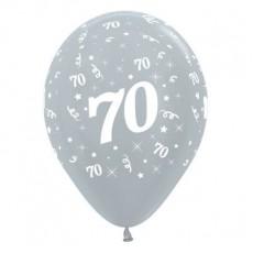 70th Birthday Satin Pearl Silver  Latex Balloons
