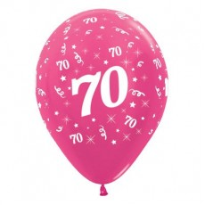 70th Birthday Metallic Pearl Fuchsia  Latex Balloons