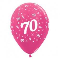 Teardrop Metallic Fuchsia 70th Birthday Latex Balloons 30cm Pack of 25