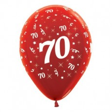 70th Birthday Metallic Red  Latex Balloons