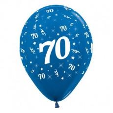 70th Birthday Metallic Pearl Blue  Latex Balloons