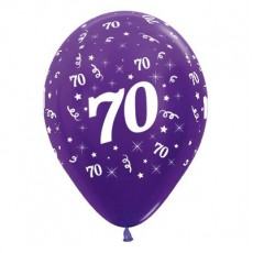 70th Birthday Metallic Pearl Purple Violet  Latex Balloons