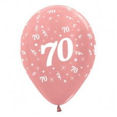 70th Birthday Metallic Pearl Rose Gold  Latex Balloons