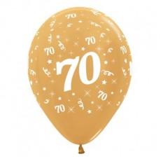 Teardrop Metallic Gold 70th Birthday Latex Balloons 30cm Pack of 25