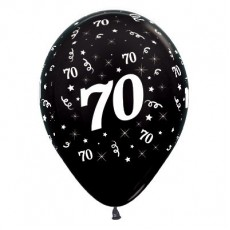 70th Birthday Metallic Pearl Black  Latex Balloons
