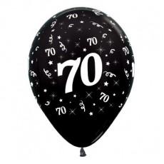 Teardrop Metallic Black 70th Birthday Latex Balloons 30cm Pack of 25
