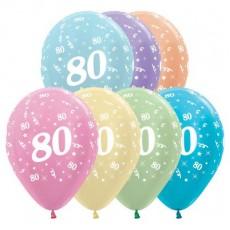 80th Birthday Pearl Satin Multi Coloured  Latex Balloons